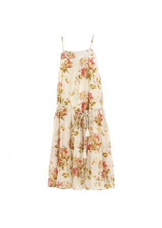 WOMEN'S DRESS SEMICOUTURE BEIGE FLOWER PRINT