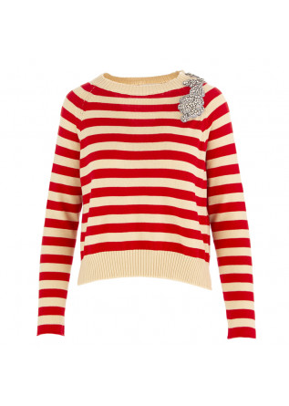 WOMEN'S SWEATER SEMICOUTURE BEIGE / RED