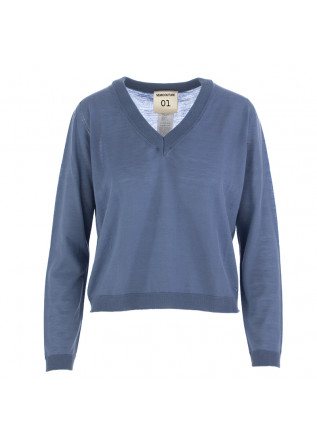 WOMEN'S SWEATER SEMICOUTURE LIGHT BLUE VIRGIN WOOL