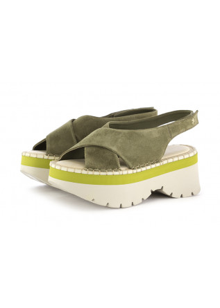 WOMEN'S WEDGE SANDALS PATRIZIA BONFANTI GREEN SUEDE