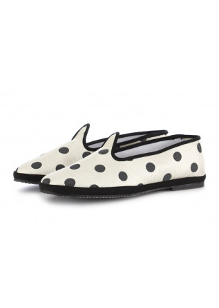 WOMEN'S FLAT SHOES MIEZ WHITE BLACK POLKADOTS