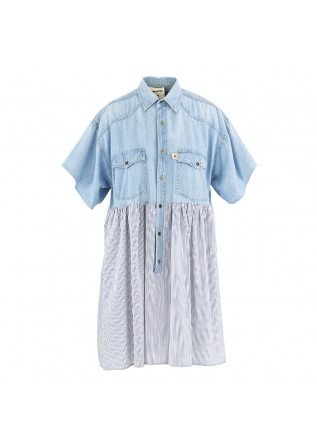 WOMEN'S DRESS SEMICOUTURE LIGHT BLUE DENIM COTTON