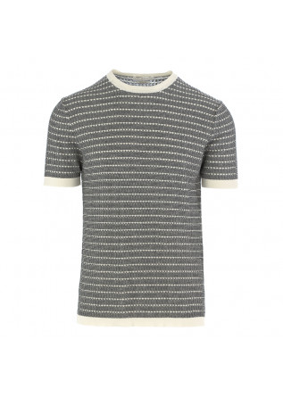 MEN'S KNITTED T-SHIRT DANIELE FIESOLI WHITE BLACK COTTON