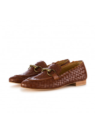 women's flat shoes poesie veneziane brown wowen leather