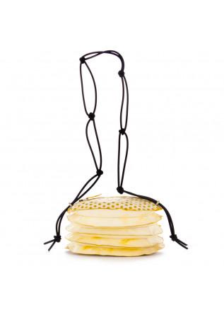 borsa tracolla da donna papucei fisarmonica pelle bianco giallo pois