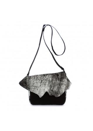 borsa tracolla da donna papucei zoe pelle nero argento