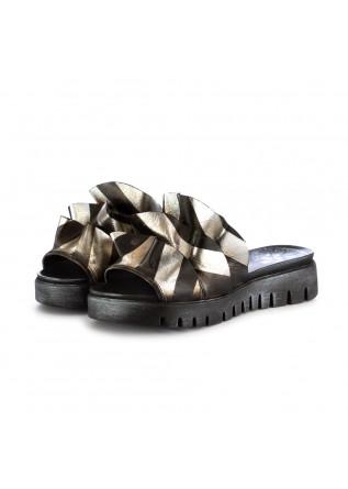 sandali sabot da donna papucei caron nero argento pelle