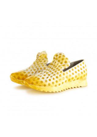 scarpe basse da donna papucei zenit pelle bianco giallo pois