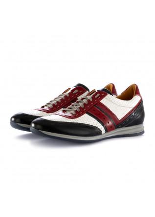 scarpe allacciate uomo 100% fatto in italia albert rosso blu bianco pelle