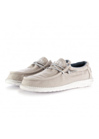 MEN'S FLAT SHOES WALLY WASHED LIGHT GREY HEY DUDE