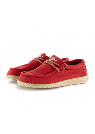 MEN'S FLAT SHOES HEY DUDE WALLY WASHED RED