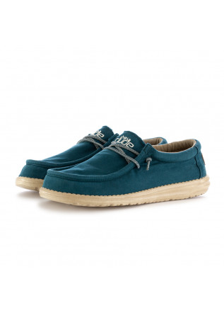 MEN'S FLAT SHOES HEY DUDE WALLY WASHED BLUE