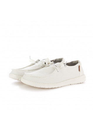 WOMEN'S FLAT SHOES HEY DUDE WENDY CHAMBRAY WHITE