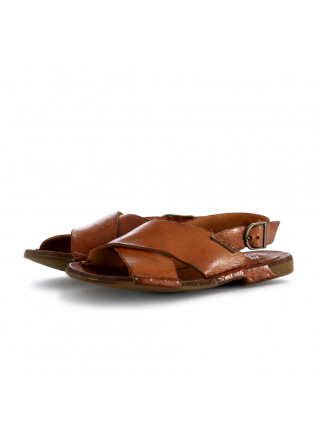 WOMEN'S SANDALS MANOVIA 52 HONEY BROWN LEATHER