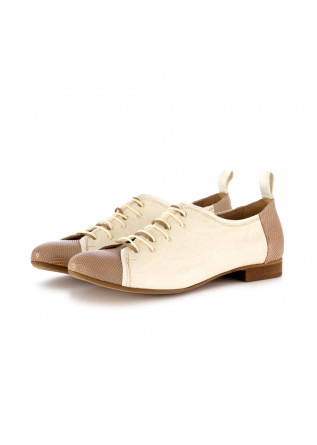 women's lace-up shoes reveries gilda beige white leather