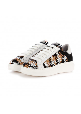 women's sneakers semerdjian white black beige leathe