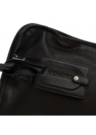UNISEX HANDBAG REHARD | LAPTOP BLACK REAL LEATHER