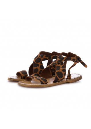 women's sandals l'artigiano del cuoio animalier brown
