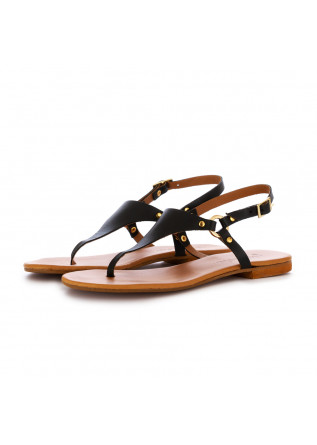women's sandals frenesia thong black leather