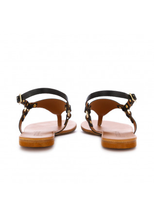WOMEN'S SANDALS FRENESIA | THONG BLACK LEATHER
