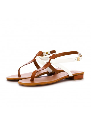 women's sandals frenesia brown white leather