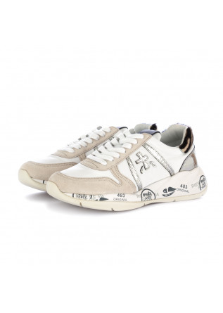 women's sneakers layla premiata white beige silver