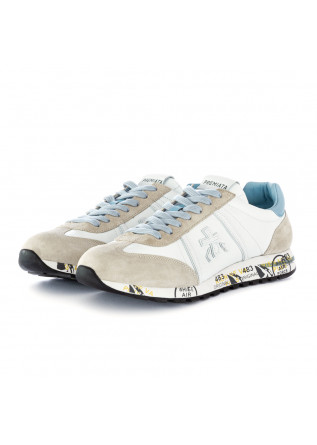 men's sneakers lucy premiata white beige light blue