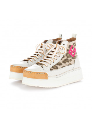 damen keilschuhe bng real shoes weiss leopardmuster