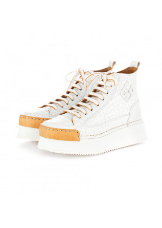 scarpe donna con zeppa bng real shoes bianco pelle