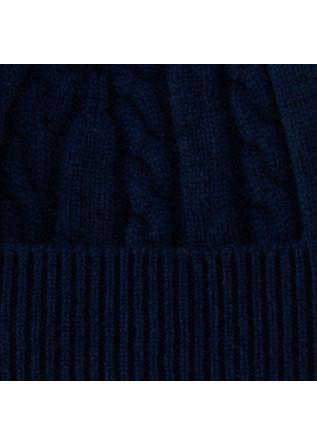 "UNISEX BEANIE ""TRECCIA"" RIVIERA | 100% CASHMERE BLUE"