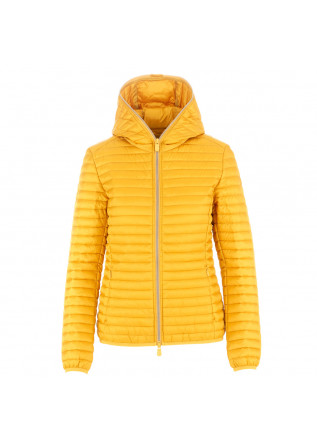 women's puffer jacket save the duck iris12 ocher yellow