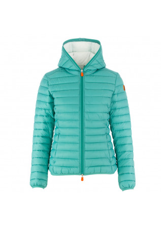 women's puffer jacket save the duck giga12 acqua green