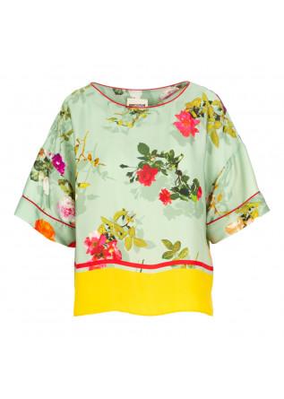 camicia donna semicouture verde fiori