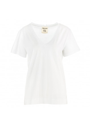 t shirt donna semicouture bianco scollo a v