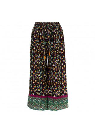 pantaloni donna francesca bassi nero multicolor