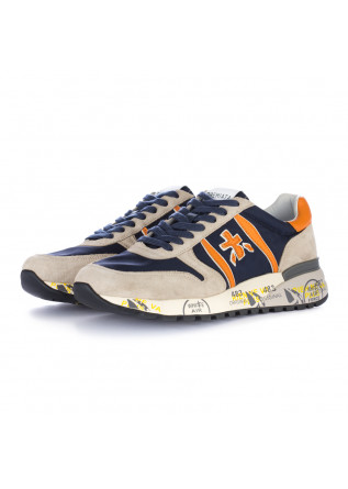men's sneakers premiata lander grey blue orange