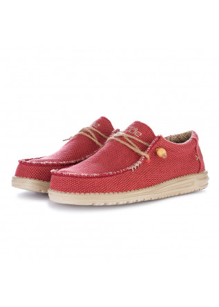 men's flat shoes hey dude wally braided red