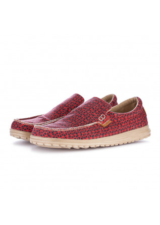 men's flat shoes hey dude mikka print red