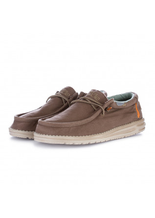 men's flat shoes hey dude wally washed brown