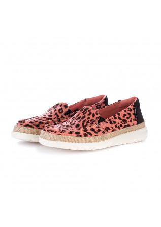 women's flat shoes hey dude lena leopard pink