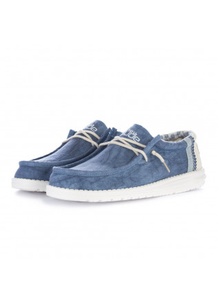 scarpe basse uomo hey dude wally linen blu