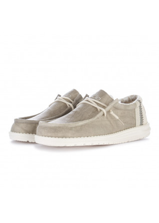 men's flat shoes hey dude wally linen taupe