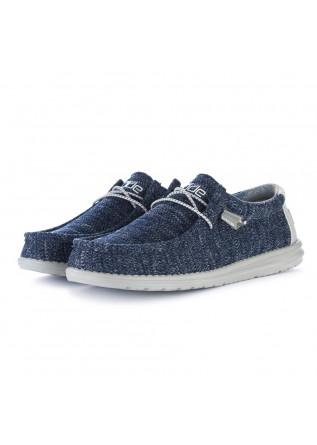 men's flat shoes hey dude wally sox blue grey