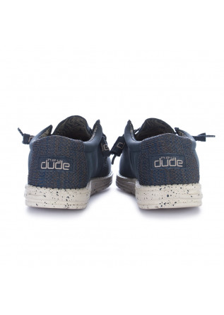 MEN'S FLAT SHOES HEY DUDE SHOES   WALLY RECYCLED BLUE