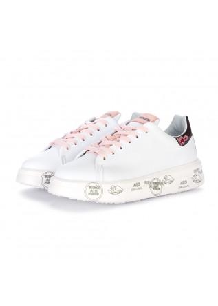 sneakers donna premiata belle bianco rosa