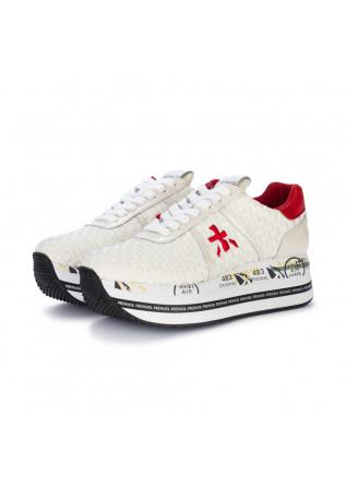womens sneakers premiata beth white red