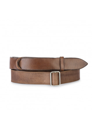 mens belt orciani no buckle leather brown