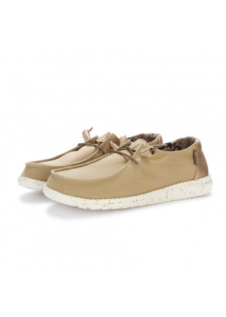 women's flat shoes hey dude light brown