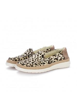 damen flache schuhe hey dude lena leopard beige