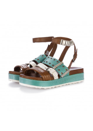 womens sandals mjus brown torquoise